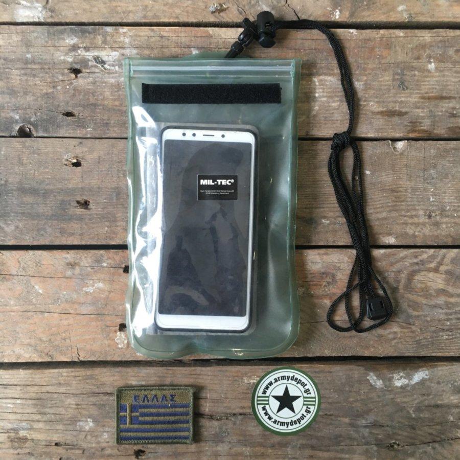 Στεγανή Θήκη Κινητού Ημιδιαφανής Χακί 10 Χ 23 cm