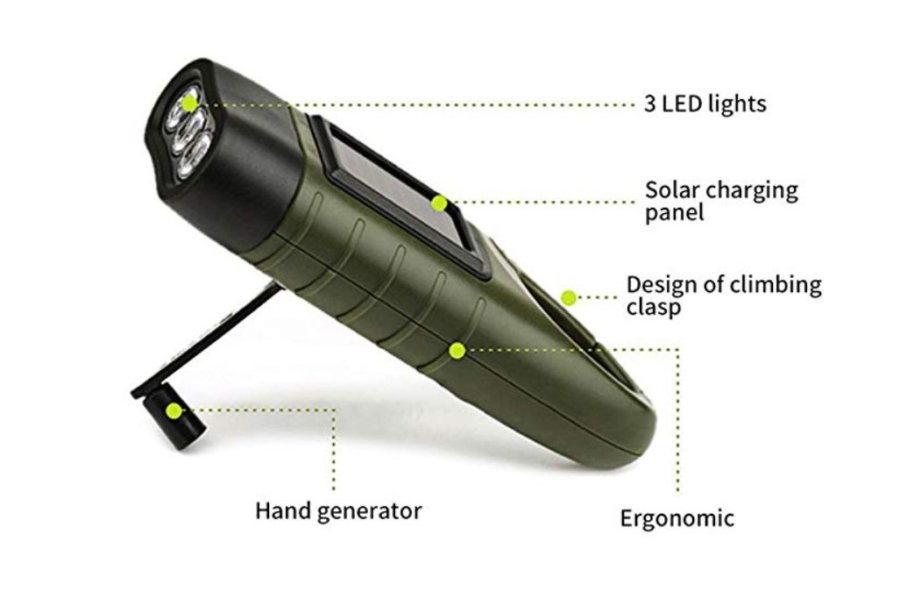 Φακός επαναφορτιζόμενος με ηλιακή ενέργεια και δυναμό